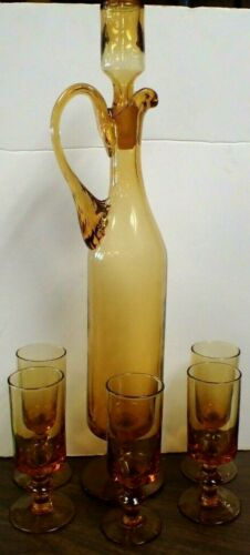 Vintage Amber Glass Wine Cordial Footed Decanter Set with Five Stemmed Glasses