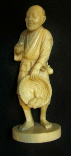 Antique Japanese Hand Carved & Signed 19th Century okimono Man Rabbit Figurine