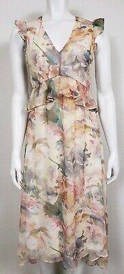 Hope & Ivy Maternity Dress Size 8 Floral Ruffles Sheer V-Neck Zip Empire Waist