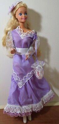80s Dresses   Casual to Party Dresses 1980's Mattel Barbie Doll Wearing Purple Dress  $16.90 AT vintagedancer.com