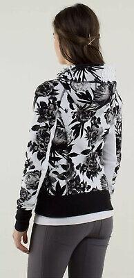 Lululemon Scuba Hoodie Stretch Lined Hood Brisk Bloom Black White SZ 6