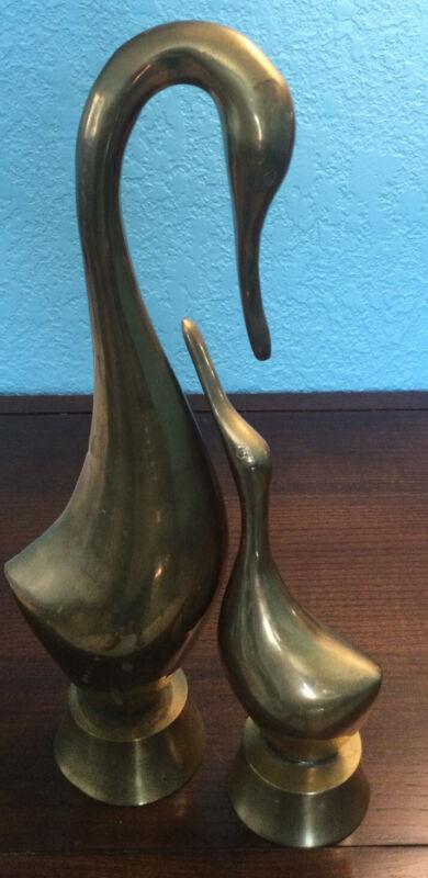 "2 Vintage Brass Swan Figurine Set Large Mid Century Sculpture Statue 12.5"" & 9"""