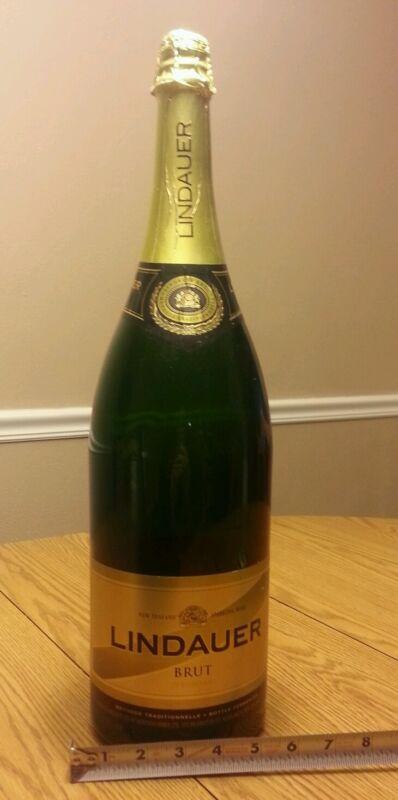 "Rare empty sealed lindauer brut wine display empty glass 20"" gold green bottle"