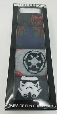 Star Wars 4 Pair Crew Socks Weekend Lounge Socks New Stormtroopers Darth Vader