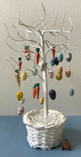 """Set of 28 Wooden Easter Egg, Carrot, Chicken Ornaments on 13"""" White Wire Tree"""