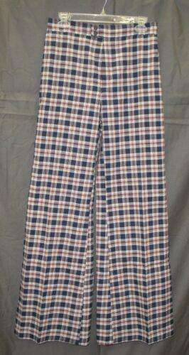 Vtg 70s Happy Legs Navy Red White Plaid Hippie High Waist Bell Bottom Pants sz L