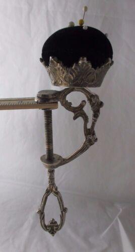 ANTIQUE GEORGIAN RaRe metal SEWING CLAMP  & PIN CUSHION- c1800;s