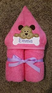 Personalized Pink/Girl Puppy Dog Hooded Towel