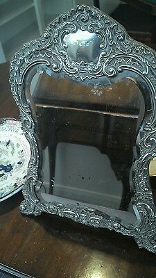 Large sterling silver ornate art nouveau  mirror Birmingham 1901 H Matthews