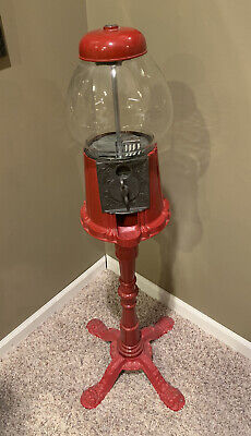 Vintage Cast Iron Carousel Gumball Machine & Floor Stand Base Ornate Red 38""