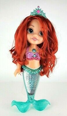 DISNEY Ariel the Little Mermaid Deluxe Singing Doll 14'' W/ Light Up Tail EUC
