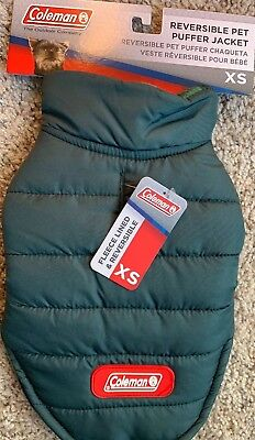 Extra Small Dog Coleman Reversible PUFFER Jacket Coat NEW Winter Pet In Green Reversible Puffer Pet Jacket