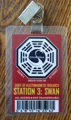 Lost TV Series ID Badge -Chief of Electromagnetic Swan cosplay prop costume B