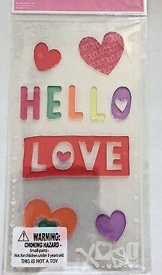 Hearts Hello Love Valentine's Day  Window Gel Stickers Cling Decor classroom - Classroom Valentine Decorations