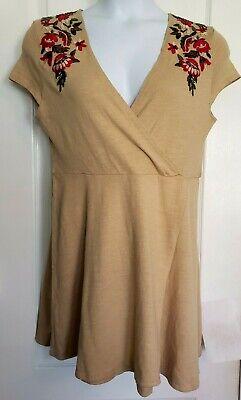 Zara Knit Womens Dress Large Tan Floral Embroidered Wrap Front Mini Cotton Boho