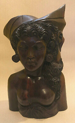 FINE HAND CARVED KLUNGKUNG BALI WOODEN WOMAN BALINESE BATHING NUDE BUST. 14