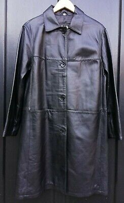 Milan Genuine Black Leather Soft Coat Long Jacket UK 14 Mens S/M Unisex 90s 00s