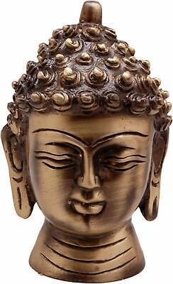 Latón Cabeza de Buda Obra Maestra, Estándar, Antiguo Marrón, 1 Piezas