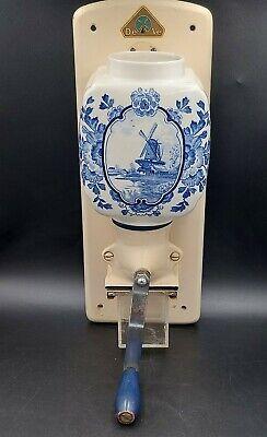 Vtg Holland Ceramic Wall-mount Coffee Grinder Mil * De Ve * Blue Delft Windmill
