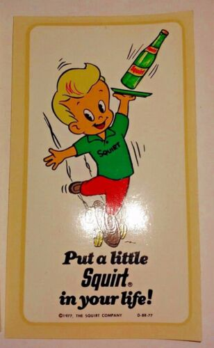 lot of 10 Vintage 1977 Squirt Soda Pop Put a Little Squirt in your life Stickers
