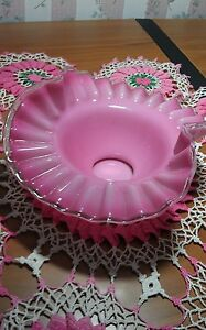 Fenton Silver Crest Pink Ruffled Crimped Bowl