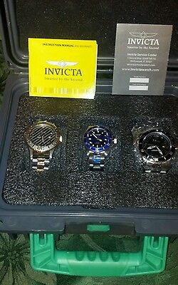 """NEW"" Invicta Pro Diver Set of 3 Stainless Steel Watches in Dive Case"