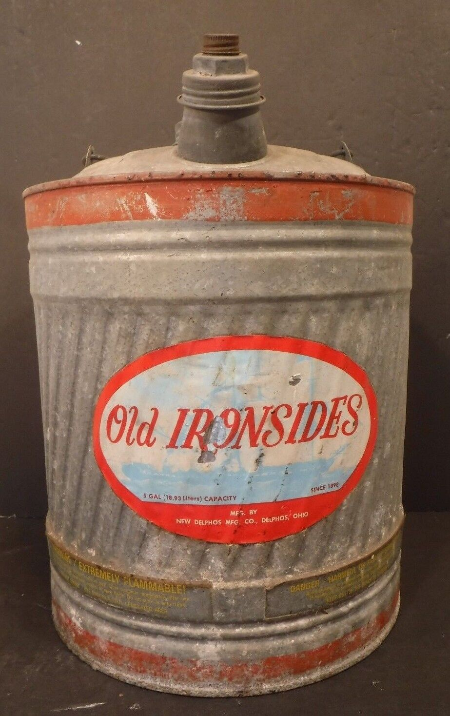Vintage Old Ironsides 5 Gallon Gas Fuel Can Galvanized Oil Container Nice Patina