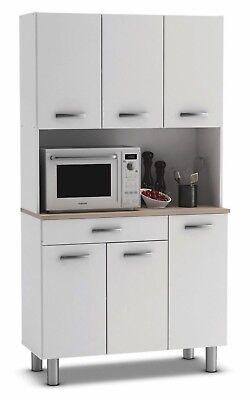 Armario alto aparador de cocina 6 puertas blanco y estante roble. 185x101cm
