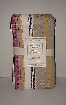 Williams-Sonoma S/4 Herringbone Stripe Napkins NWT Cotton Khaki Gold Purple  on Lookza