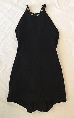 1920's - 30's - Vintage Deco Wool Black/White Halter Bathing Swimsuit