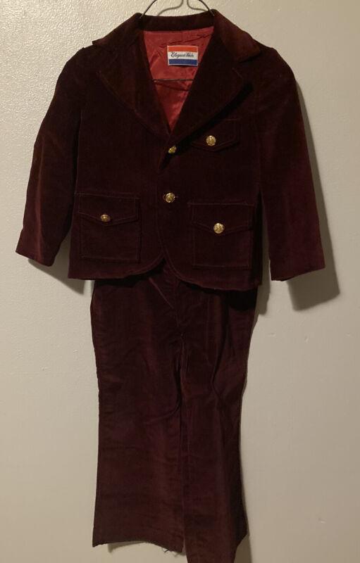 Elegant Heir Vintage Maroon Burgundy Velvet Suit Jacket Overalls Toddler Boys 3T