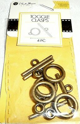 Blue Moon TOGGLE CLASPS Oxidized Brass 4 pc BMF CLSP MTL TGL PLAIN 12MM OXB  ()