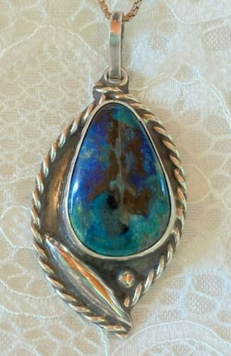 """VTG Southwestern Sterling Silver Chrysocolla Pendant with 28"""" Sterling Box Chain"""