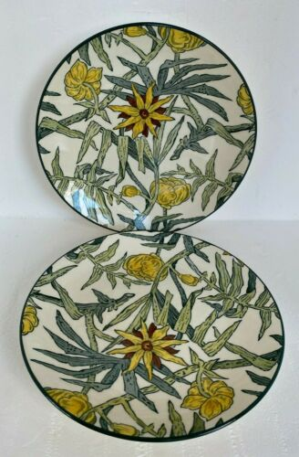 Pair VTG TIFFANY & Co Yellow Flowers Masons Plates England Ironstone