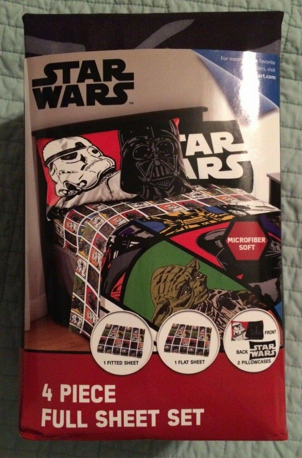 Disney Star Wars Movie 4 Piece Microfiber Full Bed Sheet Set