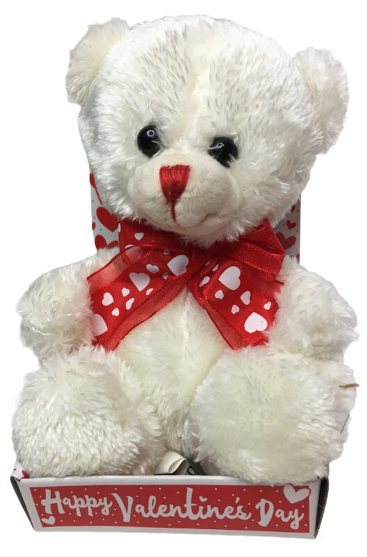Burton & Burton White Plush Teddy Bear Valentines Day 4.5 Inch NEW