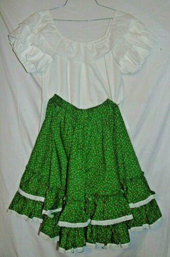 Vtg Jeri Bee White Top Handmade Green Floral Skirt Square Dance Set Petite