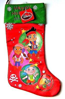 Disney Jake Never Land Pirates Christmas Stocking Happy Holidays Satin 18 - Pirate Christmas Stocking