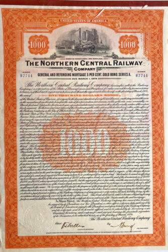The Northern Central Railway Company > 1924 $1,000 railroad bond certificate