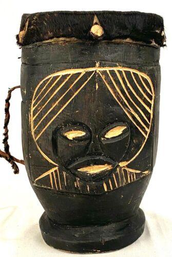 "Handmade 10"" Tall Hand Drum-Leather Skin w Hair-Wood-Music Instrument-Black Fur"