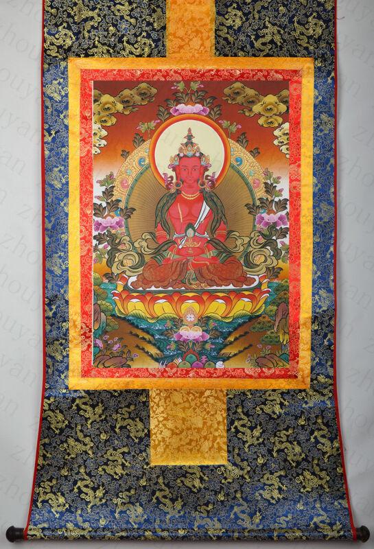 "32"" DRAGON BROCADED WOOD SCROLL TIBETAN THANGKA - AMITABHA BUDDHA OF LONGEVITY -"