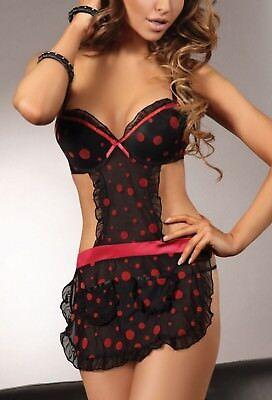 LivCo Larisa Sexy Schütze Hausfrau Kostüm String Schwarz Rot Push Up S M L (Sexy Frau Kostüme)