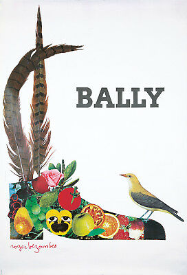 Original Vintage Poster Bezombes Bally Shoes Men French Bird Fruit Fashion 1980