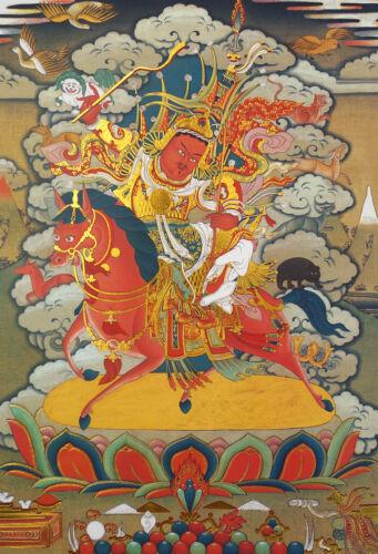 "6""MINI BLESSED TIBETAN THANGKA GOLDEN PRINT POSTER:  GESAR KING MARITAL GURU"