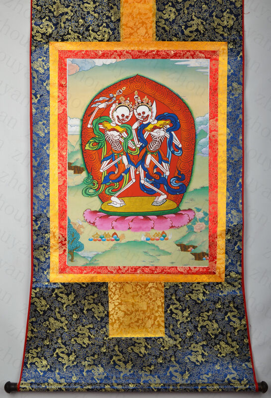 """48"""" BLESSED BROCADE WOOD SCROLL THANGKA : CITIPATI, TIBETAN LORDS OF DEATH"""