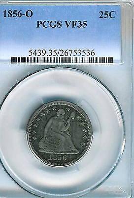 1856 O SEATED QUARTER : PCGS VF35