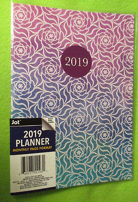 2019 Monthly Planner Calendar Purple-blue Geo Floral 9.5x6 34 Notes Planning -
