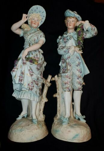 """19th Century French Bisque Porcelain Figurines LARGE Pair 20"""" Tall"""