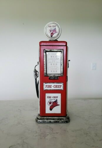 Texaco Fire-Chief Gasoline Wooden Cabinet Gas Pump