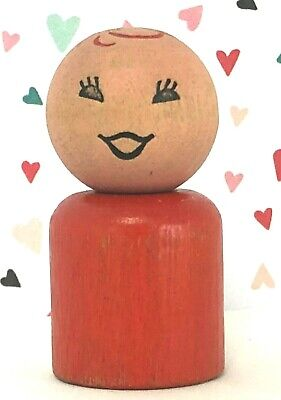 VTG FISHER PRICE Little People GIRL Straight RED Body CURLY Hair WOOD Rivet #932